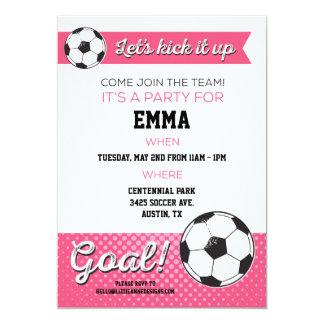 Soccer Birthday Party Invite 5x7 - Girl