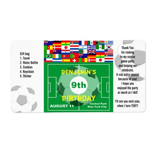 Soccer Birthday Thank You Gift Label