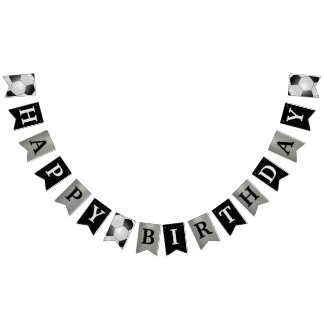 Soccer Black and Silver Happy Birthday Banner