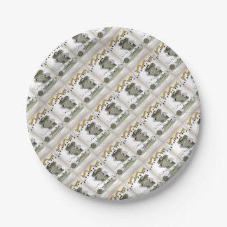 soccer black + white kit goal keeper paper plate