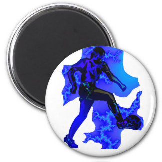 SOCCER BLUE DEMON 6 CM ROUND MAGNET