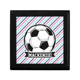 Soccer, Blue, Pink, & White Stripes, Sports Gift Box