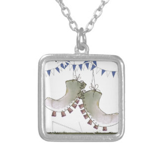 soccer blue team boots silver plated necklace