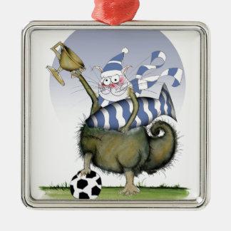 soccer blues kitty christmas ornament