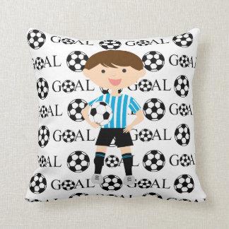 Soccer Boy 1 Light Blue and White Stripes Goal Pillow