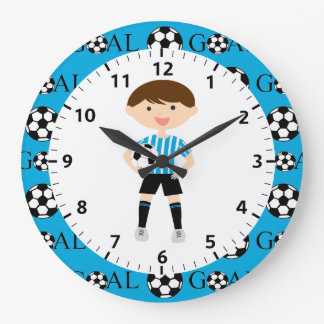 Soccer Boy 1 Light Blue and White Stripes Goal Large Clock
