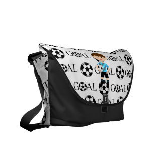 Soccer Boy 1 Light Blue and White Stripes Goal Courier Bags
