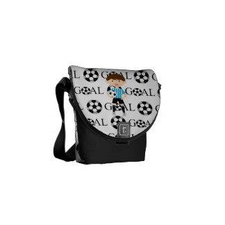 Soccer Boy 1 Light Blue and White Stripes Goal Messenger Bag