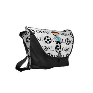 Soccer Boy 1 Light Blue and White Stripes Goal Messenger Bags