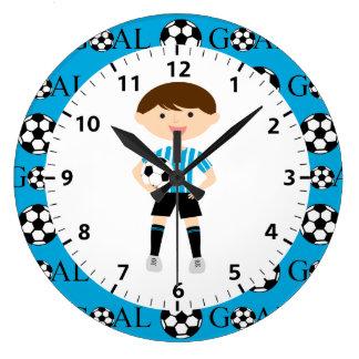 Soccer Boy 1 Light Blue and White Stripes Goal Wall Clock