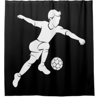 Soccer Boy Kicking Silhouette Shower Curtain