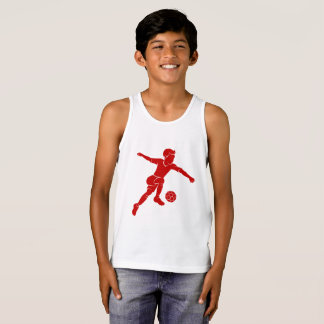 Soccer Boy Kicking Silhouette Tank Top
