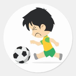 Soccer Boy Round Stickers