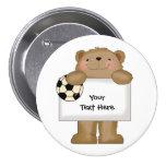 Soccer Bulletin Bear (customisable) 7.5 Cm Round Badge