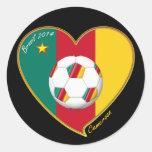 "Soccer ""CAMEROON"" FOOTBALL Team, Fútbol de Camerún Round Sticker"