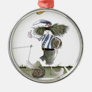 soccer captain blue white stripes christmas ornament