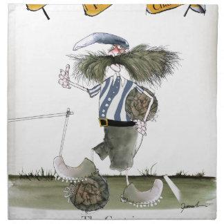 soccer captain blue white stripes napkin