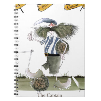 soccer captain blue white stripes notebook