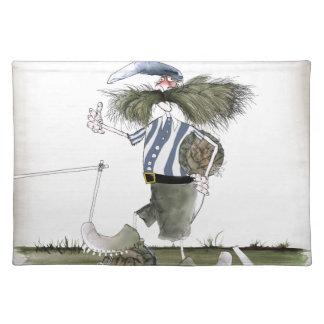soccer captain blue white stripes placemat