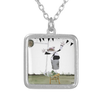 soccer centre forward black + white kit silver plated necklace