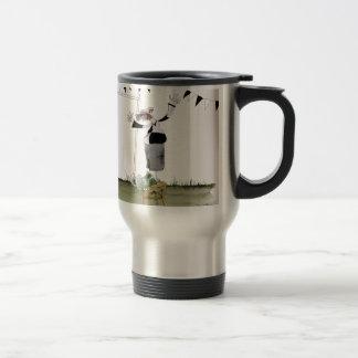 soccer centre forward black + white kit travel mug