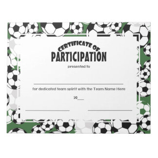 Soccer Certificates of Participation Notepads