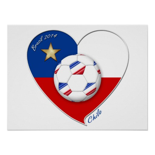 """Soccer """"CHILE"""" 2014. National Chilean soccer team Print"""