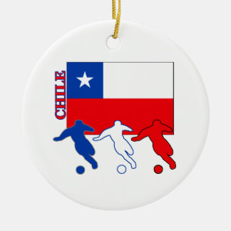 Soccer Chile Round Ceramic Decoration