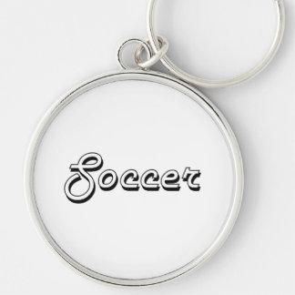 Soccer Classic Retro Design Silver-Colored Round Key Ring