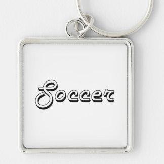 Soccer Classic Retro Design Silver-Colored Square Key Ring