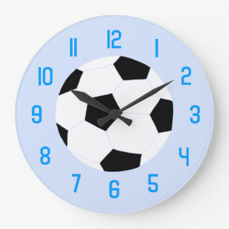Soccer Clock: Blue Soccer Ball Large Clock