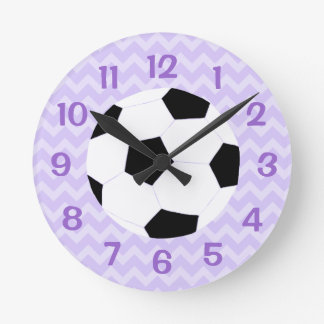 Soccer Clock: Purple Chevron Round Clock
