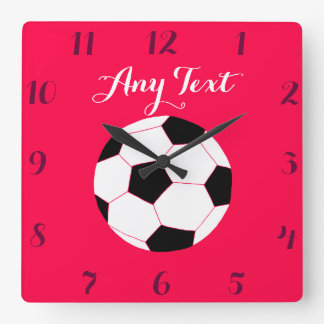 Soccer Clock: Red Custom Square Wall Clock