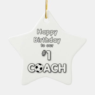 Soccer Coach Birthday with Grass Field and Ball Ceramic Star Decoration
