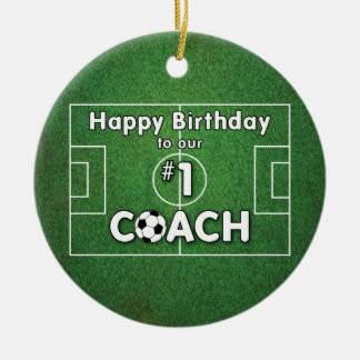 Soccer Coach Birthday with Grass Field and Ball Christmas Ornament