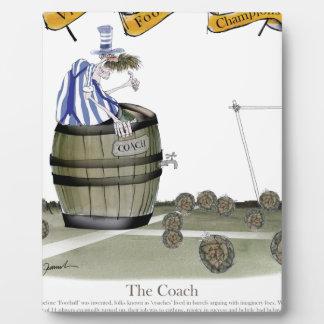 soccer coach blue white stripes plaque