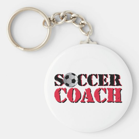 Soccer Coach (red) Basic Round Button Key Ring