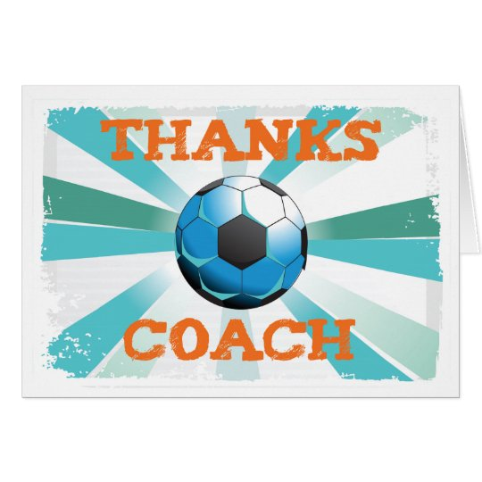 Soccer Coach Thanks, Orange on Teal, Blue Starburs