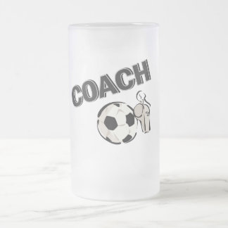 Soccer Coach (Whistle/Ball) Frosted Glass Beer Mug