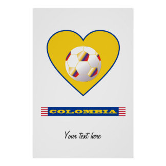 SOCCER COLOMBIA National Team ball and heart Poster