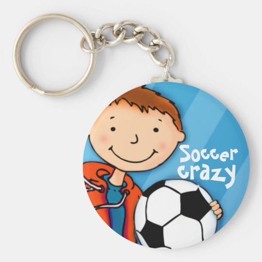 Soccer crazy blue sports kids football keychain