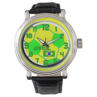 Soccer customizable flag and name Brasil Watch