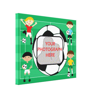 Soccer customizable Photo v wrapped canvas print