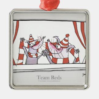 soccer dog team reds christmas ornament