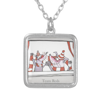 soccer dog team reds silver plated necklace