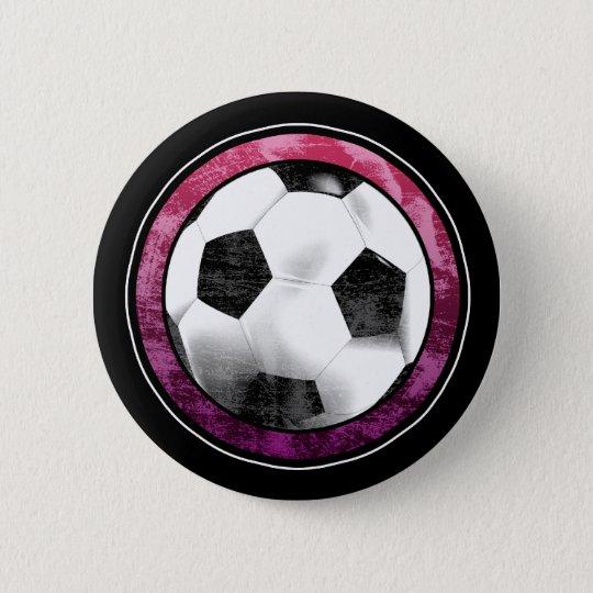 Soccer Emblem Pink Purple Button