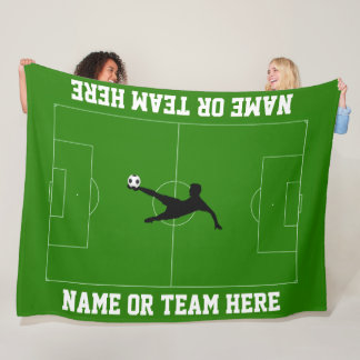 Soccer Field and Player Your Text Fleece Blanket