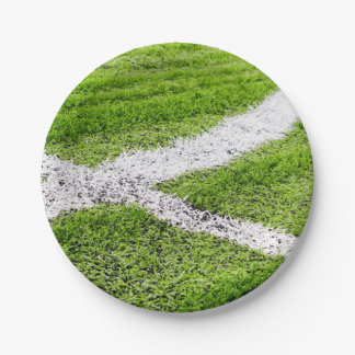 Soccer field lines paper plate