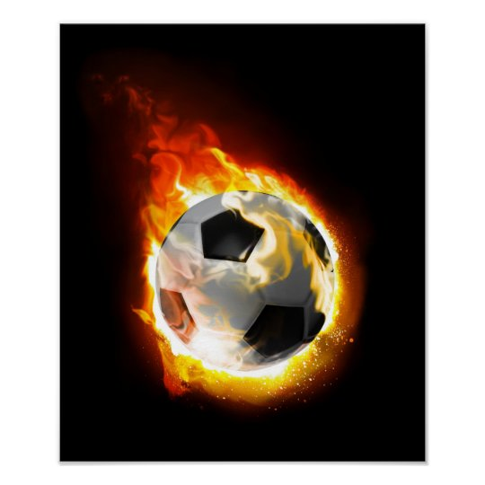 Soccer Fire Ball Poster
