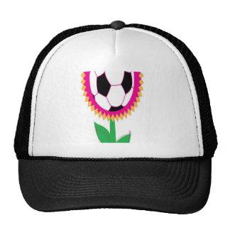 Soccer flower design mesh hats